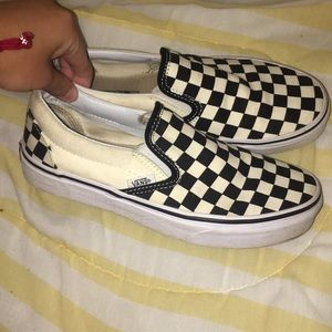 White and black checkered converse